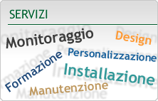 Servizi: monitoraggio, formazione, personalizzazione, manutenzione, installazione, design